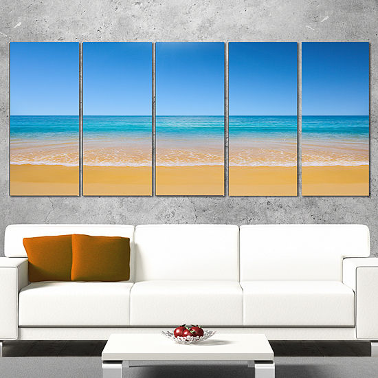 Designart Dark View Of Tropical Beach Seashore Photo CanvasPrint - 4 Panels