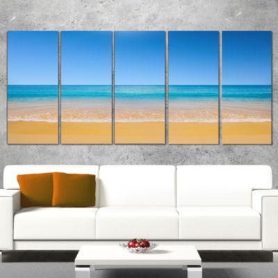 Designart Dark View Of Tropical Beach Seashore Photo CanvasPrint - 5 Panels