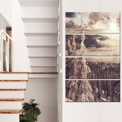 Designart Dark Winter Scene At Sunset Landscape Wall Art OnCanvas - 4 Panels