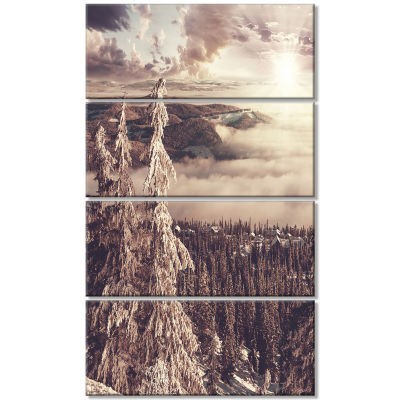Dark Winter Scene At Sunset Landscape Wall Art OnCanvas - 4 Panels