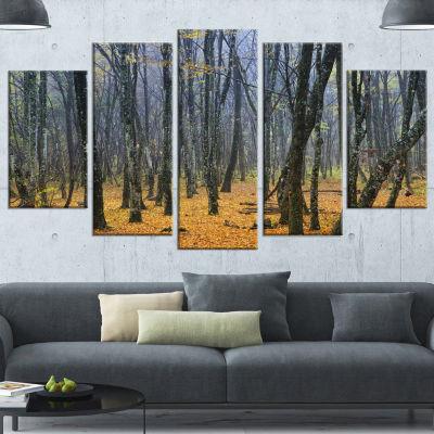 Designart Dark Woods In Autumn Forest Modern Forest Wrapped Canvas Art - 5 Panels