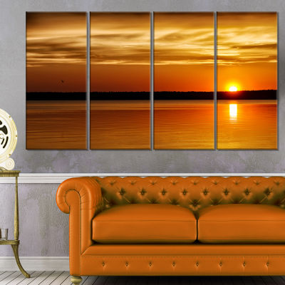 Day And Night Seascape Panorama Modern Seashore Canvas Art - 4 Panels