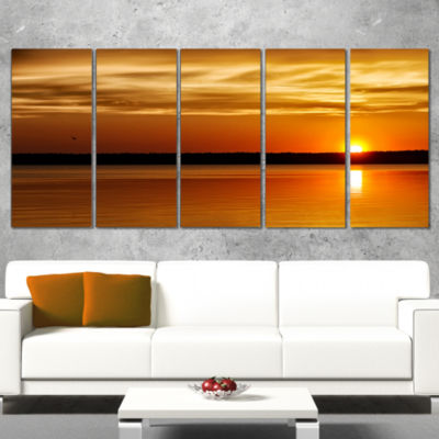 Designart Day And Night Seascape Panorama ModernSeashore Wrapped Canvas Art - 5 Panels