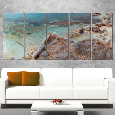 Designart Dead Sea Shore With Crystallized Salt Landscape Wrapped Canvas Art Print - 5 Panels
