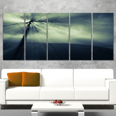 Designart Dead Tree In The Mysterious Land ModernSeascape Wrapped Canvas Artwork - 5 Panels