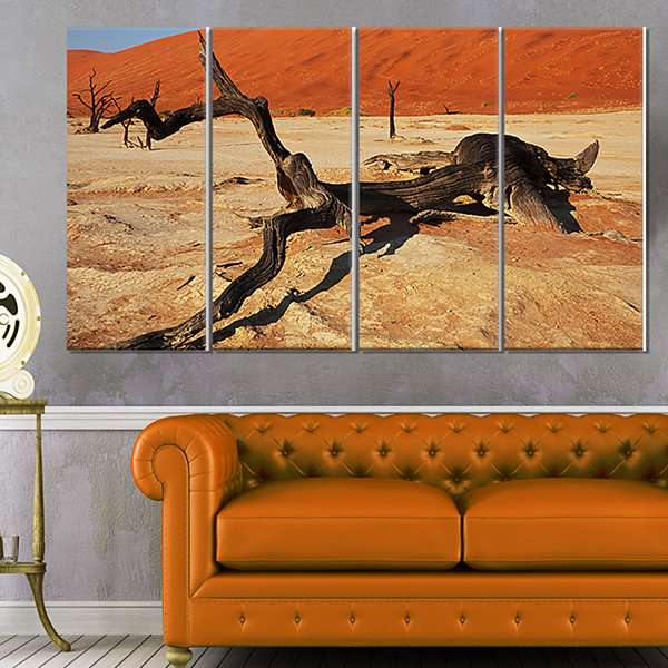 Designart Decayed Tree In Dead Valley African Landscape Canvas Art Print - 4 Panels