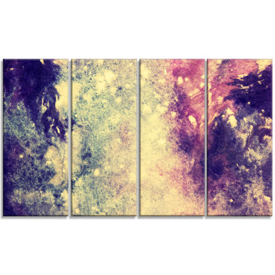Designart Deep Blue And Purple Abstract Canvas Print - 4 Panels