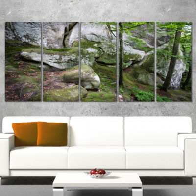 Deep Moss Forest With Rocks Landscape Canvas Art Print - 5 Panels