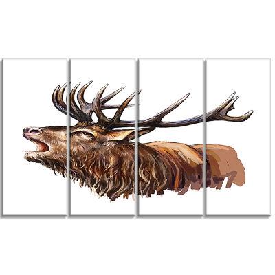 Design Art Deer Head Illustration Art Animal Canvas Art Print- 4 Panels
