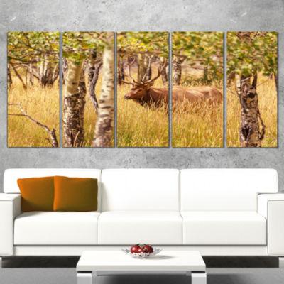 Design Art Deer In Thick Forest Grassland Oversized Landscape Canvas Art - 4 Panels
