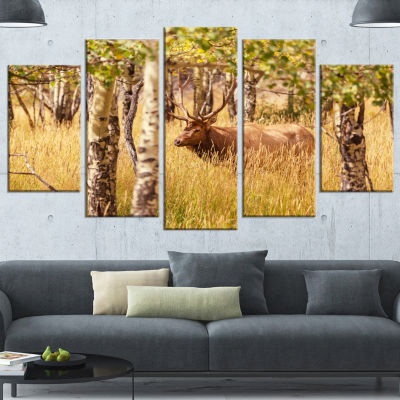 Deer In Thick Forest Grassland Oversized LandscapeWrapped Canvas Art - 5 Panels