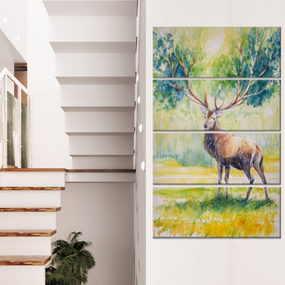 Designart Deer With Blue Horn Abstract Canvas ArtPrint - 4 Panels