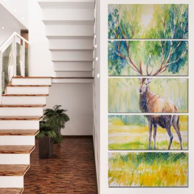 Designart Deer With Blue Horn Abstract Canvas ArtPrint - 5 Panels