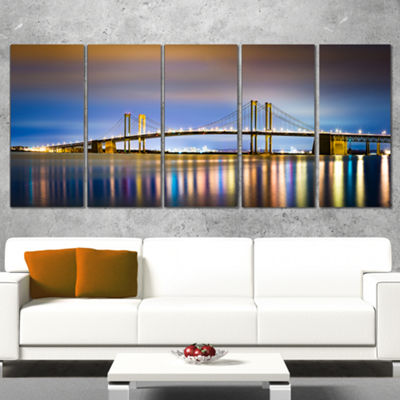Designart Delaware Memorial Bridge Panorama Landscape Canvas Art Print - 5 Panels