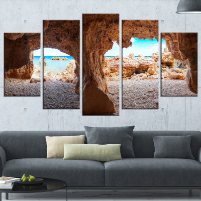 Denia Las Rotas Beach Caves Landscape Artwork Wrapped Canvas - 5 Panels