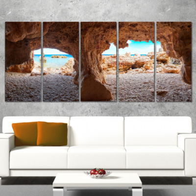Designart Denia Las Rotas Beach Caves Landscape Artwork Canvas - 5 Panels