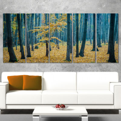 Designart Dense Autumn Beach Forest Oversized Forest Wrapped Canvas Artwork - 5 Panels