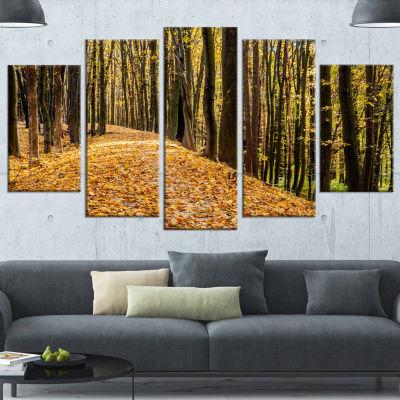 Designart Dense Autumn Forest Woods Modern ForestCanvas Art- 5 Panels
