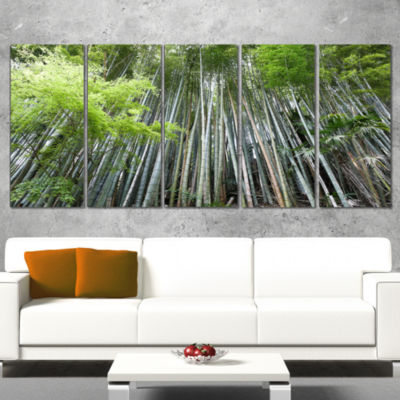 Designart Dense Bamboo Forest Of Japan Forest Wrapped CanvasWall Art Print - 5 Panels