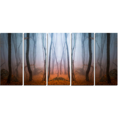 Dense Foggy Autumn Forest Landscape Photo Canvas Art Print - 4 Panels