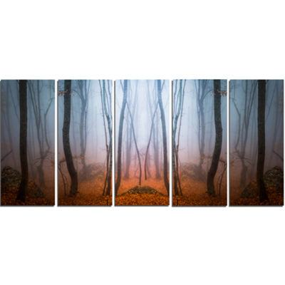 Designart Dense Foggy Autumn Forest Landscape Photo Canvas Art Print - 5 Panels