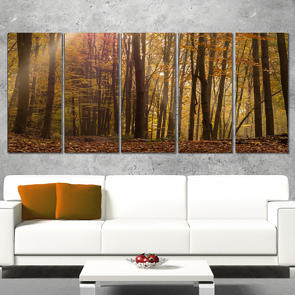 Designart Dense Forest In Rays Of Rising Sun Forest Canvas Art Print - 5 Panels