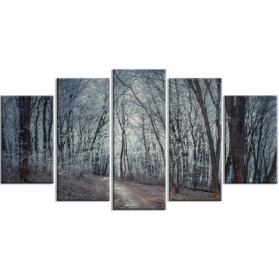 Designart Dense Gray Fall Forest Path Landscape Photo Canvas Art Print - 4 Panels