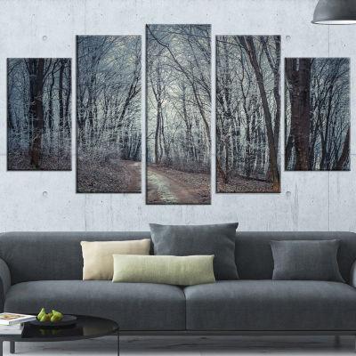 Designart Dense Gray Fall Forest Path Landscape Photo Canvas Art Print - 5 Panels