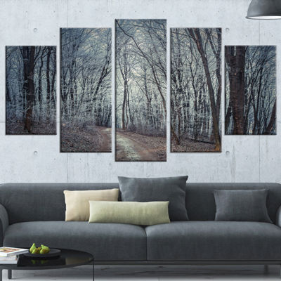 Designart Dense Gray Fall Forest Path Landscape Photo Canvas Art Print - 5 Panels