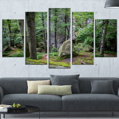 Designart Dense Moss Forest In Green Landscape Wrapped Canvas Art Print - 5 Panels