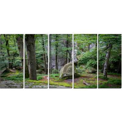Designart Dense Moss Forest In Green Landscape Canvas Art Print - 5 Panels