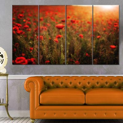 Designart Dense Poppy Field At Sunset Floral Canvas Art Print - 4 Panels