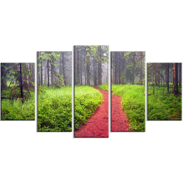 Designart Desert Footpath To Misty Forest Landscape Photography Canvas Print - 4 Panels