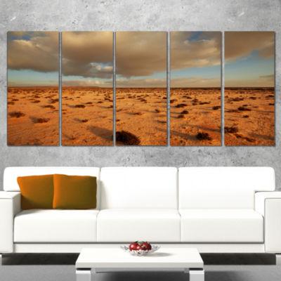 Desert In Western Sahara Landscape Wrapped CanvasArt Print - 5 Panels