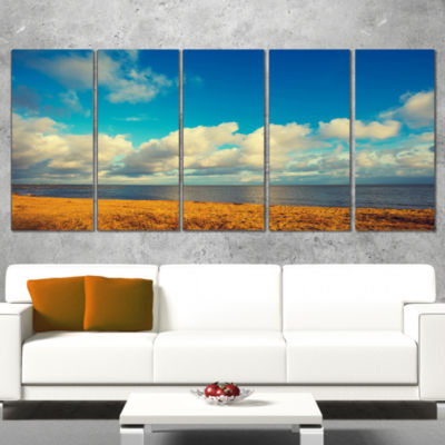 Deserted Brown Sea Coastline Landscape Artwork Canvas - 4 Panels