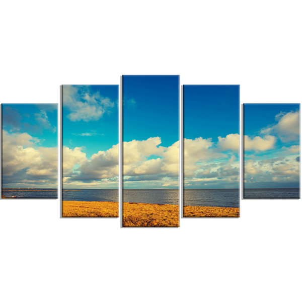 Designart Deserted Brown Sea Coastline LandscapeArtwork Wrapped Canvas - 5 Panels