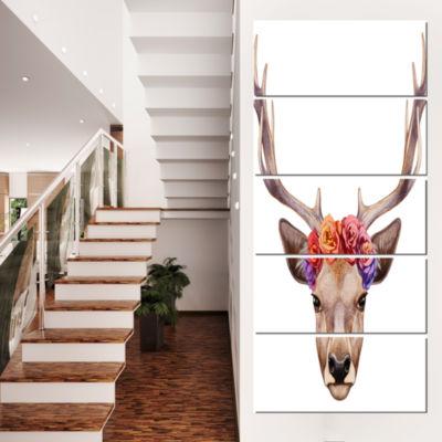 Designart Deer Portrait With Floral Head Deer Canvas Art Print - 4 Panels