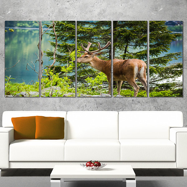 Design Art Deer Stag Near The Lake Animal Art On Canvas - 4 Panels