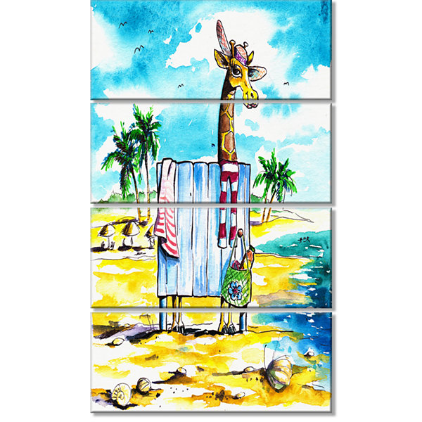 Designart Giraffe In Dressing Room On Beach Cartoon Animal Print - 4 Panels