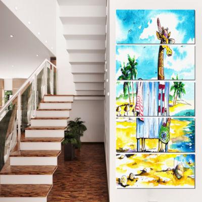 Designart Giraffe In Dressing Room On Beach Cartoon Animal Print - 5 Panels