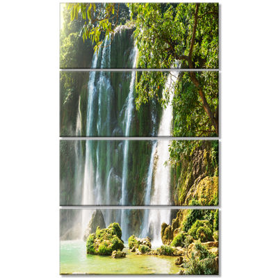Designart Detian Waterfall In Vietnam Oversized Landscape Canvas Art - 4 Panels