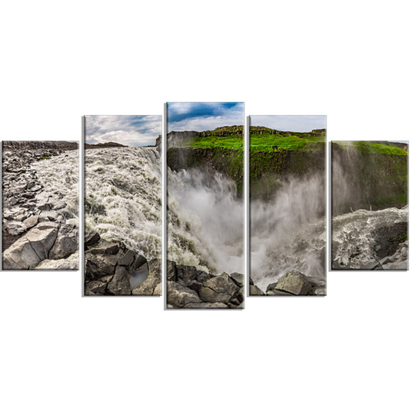 Designart Dettifoss Waterfall Iceland Panorama Landscape Wrapped Canvas Art Print - 5 Panels