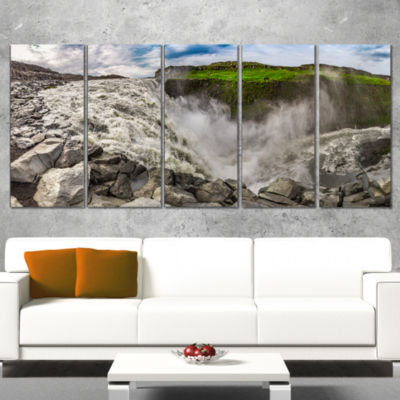 Dettifoss Waterfall Iceland Panorama Landscape Wrapped Canvas Art Print - 5 Panels