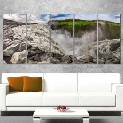 Designart Dettifoss Waterfall Iceland Panorama Landscape Canvas Art Print - 5 Panels