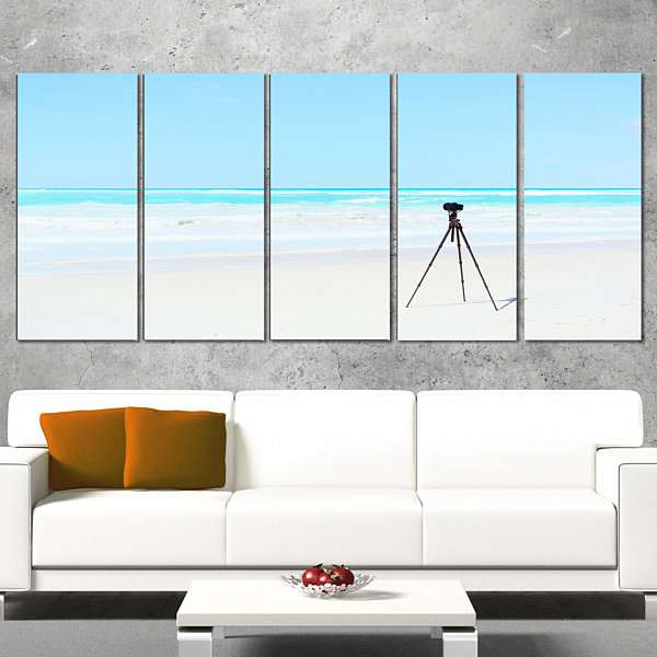 Designart Digital Camera And Tripod On Beach Oversized Landscape Wall Art Print - 5 Panels
