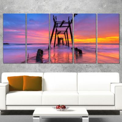 Designart Discarded Wooden Bridge At Sunset Pier Seascape Wrapped Canvas Art Print - 5 Panels