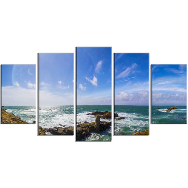 Designart Distant Planet System From Cliffs LargeSeashore Wrapped Canvas Print - 5 Panels