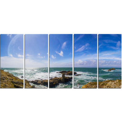 Designart Distant Planet System From Cliffs LargeSeashore Canvas Print - 5 Panels