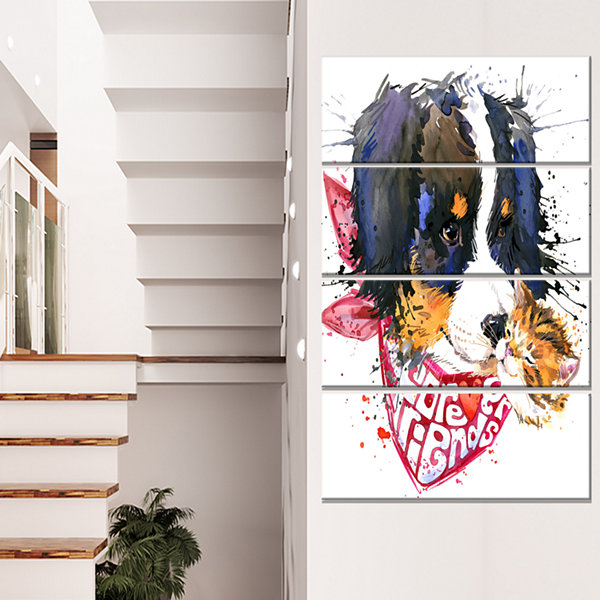 Designart Dog And Cat Friends Forever Animal Canvas Art Print - 4 Panels