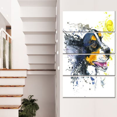 Dog And Yellow Ball Watercolor Abstract Canvas ArtPrint - 4 Panels